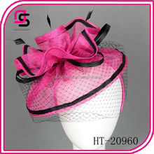 fashion retro hats and hair fascinators with black veil and feather