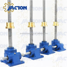 Singapore clients JTW-5T copper nut dc motor operating screw jack hand operated mechanical lift for long lifting tables screw