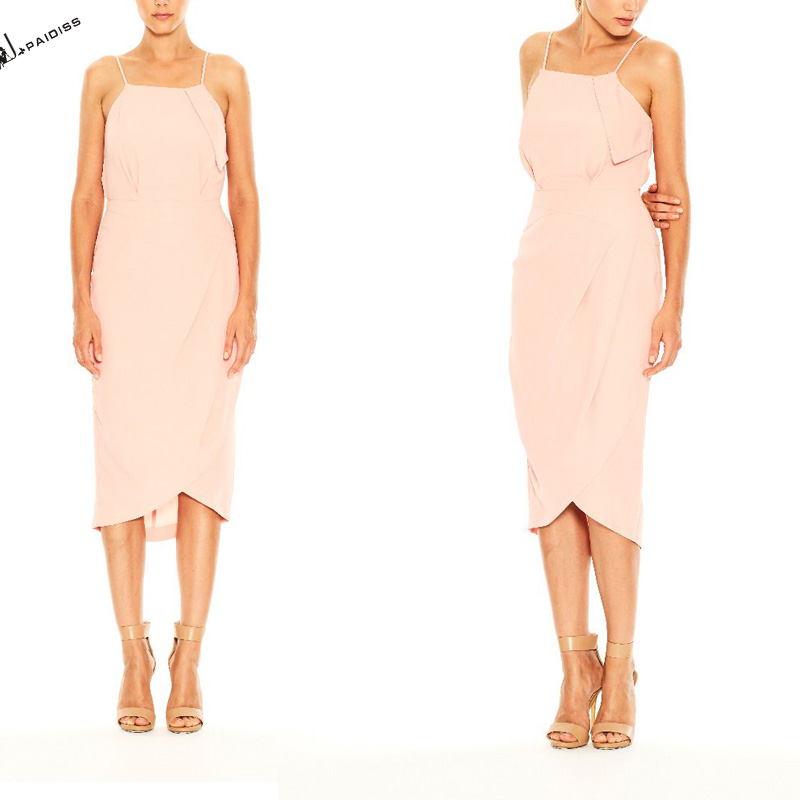 Pink strap irregular latest ladies fashion dresses with pictures for women