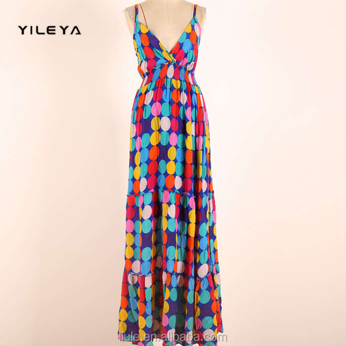 sexy v neck colorful polka dot printed women long wholesale evening dress