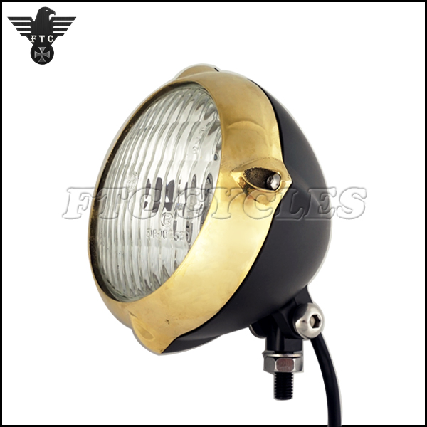 Old Time Style Brass Bezel Vintage Motorcycle Headlight for Triumph