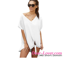 Latest Summer New Design Sexy Beach White Breezy Tie The Knot Bikini Cover Up