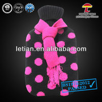 good quality 1000ml pvc hot water bag cover with a scarf and spots printed in peach-pink colour