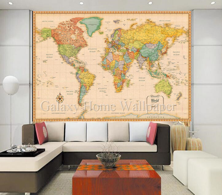 World map English font drawing room <strong>wall</strong> 3D Wallpaper
