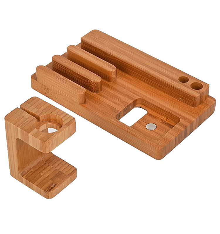 Portable dock bamboo mobile restaurant cell phone charging station