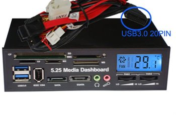 5.25 Media Dashboard usb3.0 20pin to USB 3.0 HUB and USB2.0 All-in-one card reader with ESATA Slot and LCD
