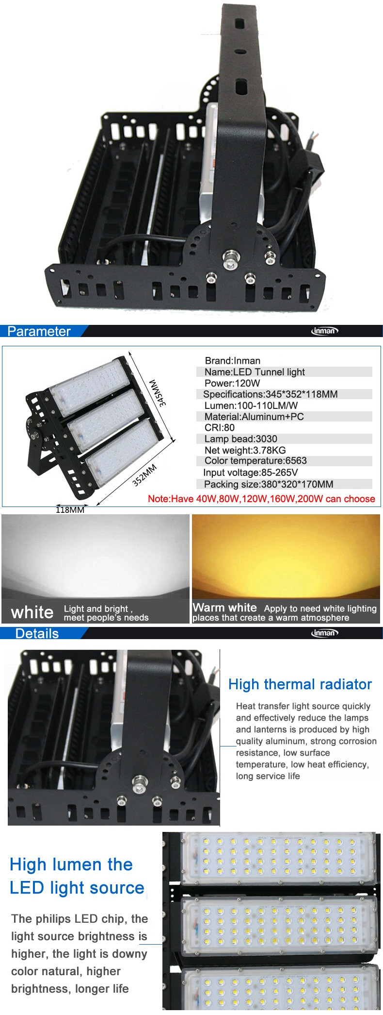 High lumen metal halide color changing outdoor 40w led tunnel flood light