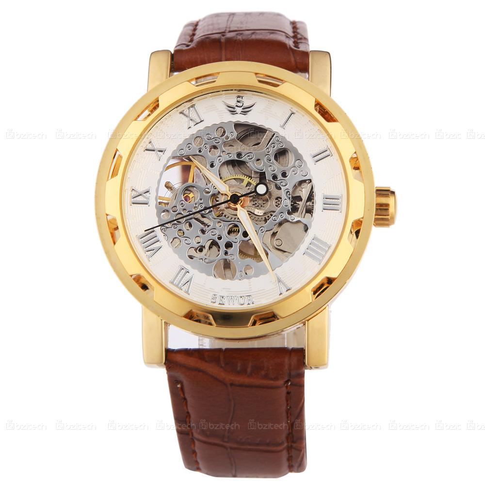 Sewor branded watches for men Skeleton Mechanical hand-wind Watch Men leather strap casual Wristwatches Top Quality