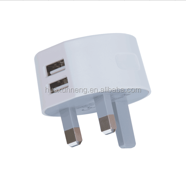 2.1A Dual USB Port Wall Charger UK HK 3 Prong Adapter for Apple and Android Devices- For ALL iPads Tablets Samsung Galaxy S