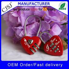 High Security red love padlock combination with wire in stock