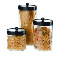 SINOGLASS trade assurance Set of 3 rotatable blade lid airtight glass storage jar