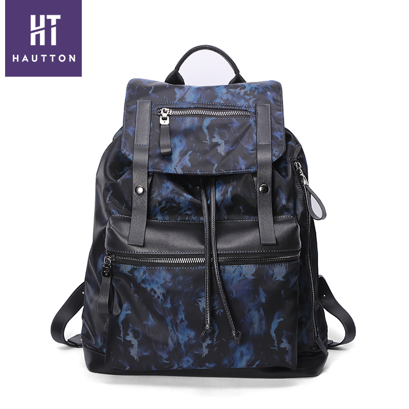 DB368 Hautton china Coated Fabric Combined Top Layer Cow Leather shoulder bag back bag for men