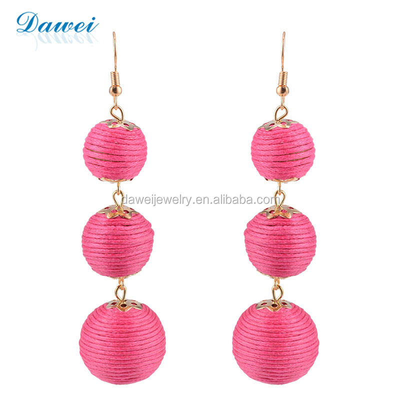 North America Hot Selling Fashion Waterproof Three Color Striped Thread Wrapped Ball Dangle Drop Earrings