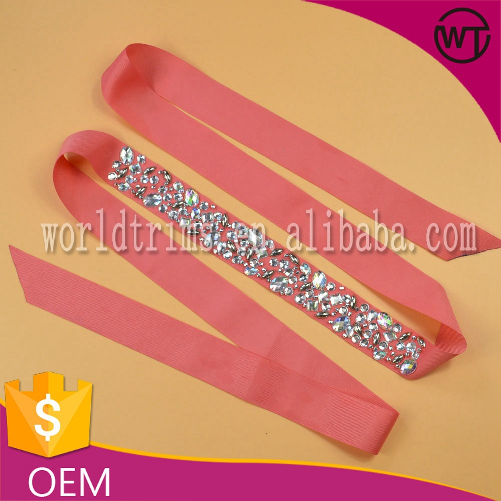 New style pink ribbon AB stones beaded lace trimmings for dress sash