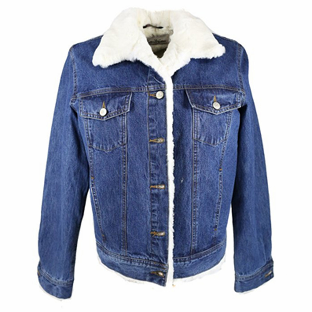 Womens Winter Denim Jacket With Fur Collar