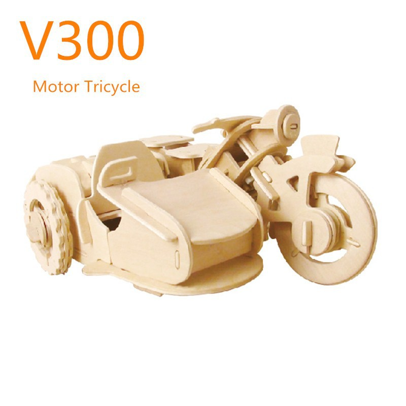 Robotime military vehicles RC wooden toy - Motor Tricycle