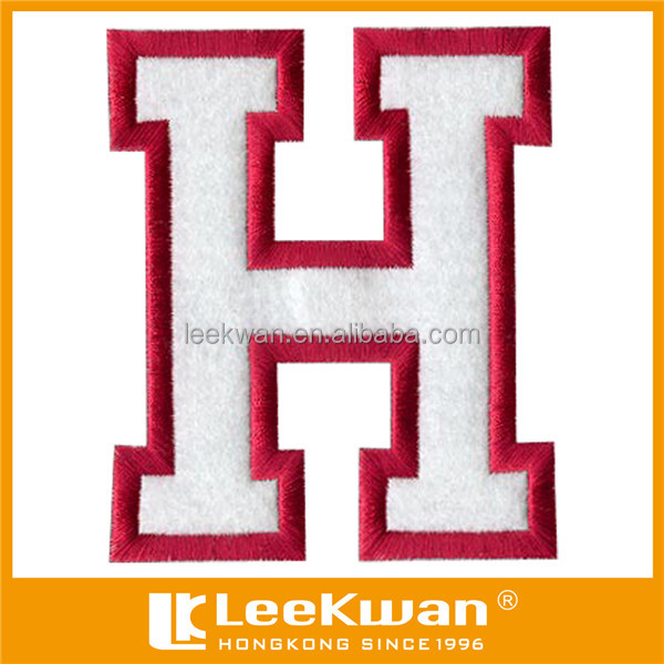 Felt letter patch applique iron on felt letter embroidery for Embroidery prices per letter