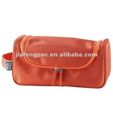 High quality orange color 1680D zipper cosmetic bag for promotional things