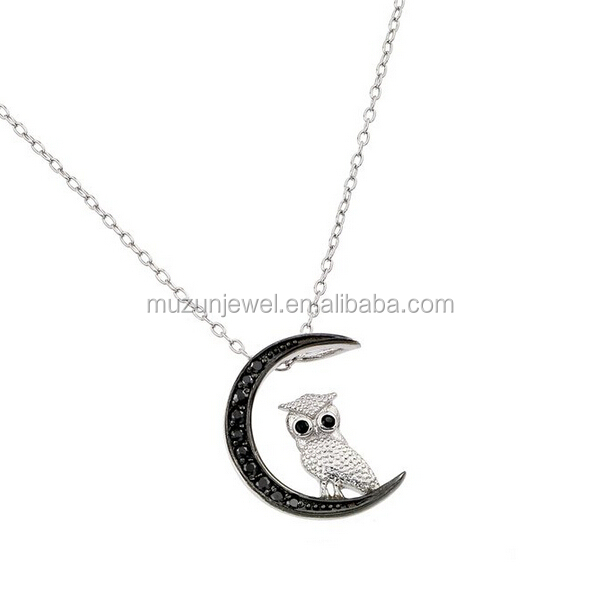 925 Sterling Silver Rhodium Plated Moon And Owl Slider pendant Necklace