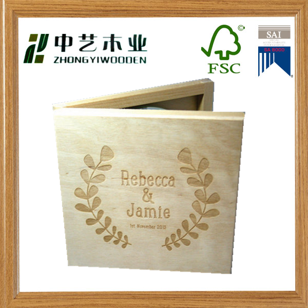 FSC Christmas gift solid wood unfinished single CD Storage boxes wood packaging box wholesale