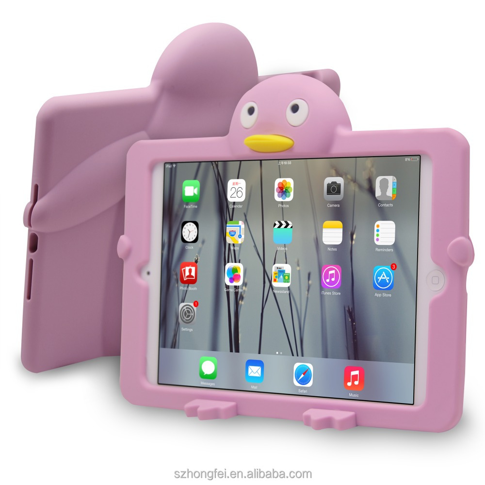 2016 Cute Penguin Silicone Soft Case Cover Skin for Apple Ipad MINI 1/2/3