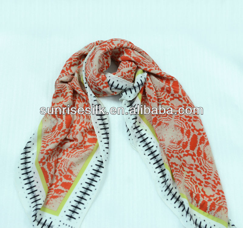 2013 Lady's Fashion Floral Print Silk Shawl