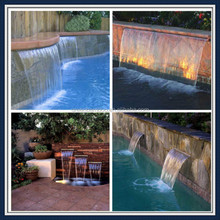 outdoor swimming pool sheer descent pool waterfall acrylic water blade