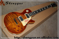 Cheap OEM guitar flamed maple top Shengque LP model electric guitar