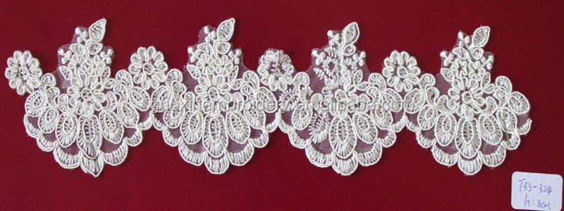 2014 Rayon Embroidery lace edgings/trim for wedding dress/garment