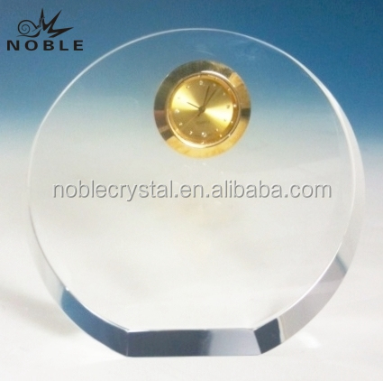 Blank Clear Crystal Round Plaque with gold clock