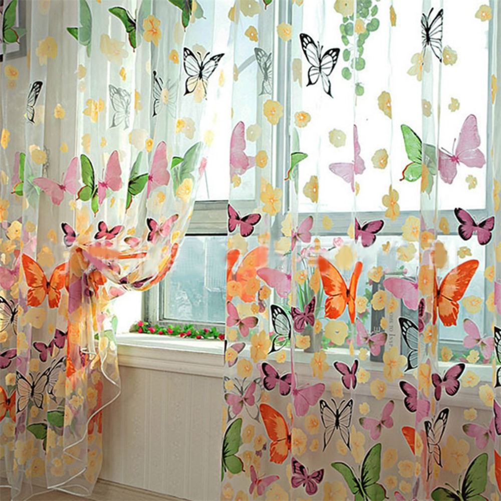 2016 hot Romantic Butterfly Transparent Curtains Tulle 1x2m for Casement And Door Printed Window Curtain Sheer Voile Curtain