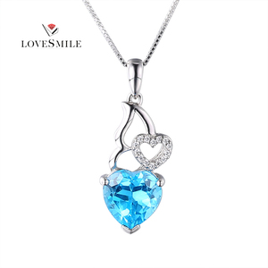 Factory wholesale gemstone jewelry blue topaz crystal pendant 925 sterling silver gemstone pendants