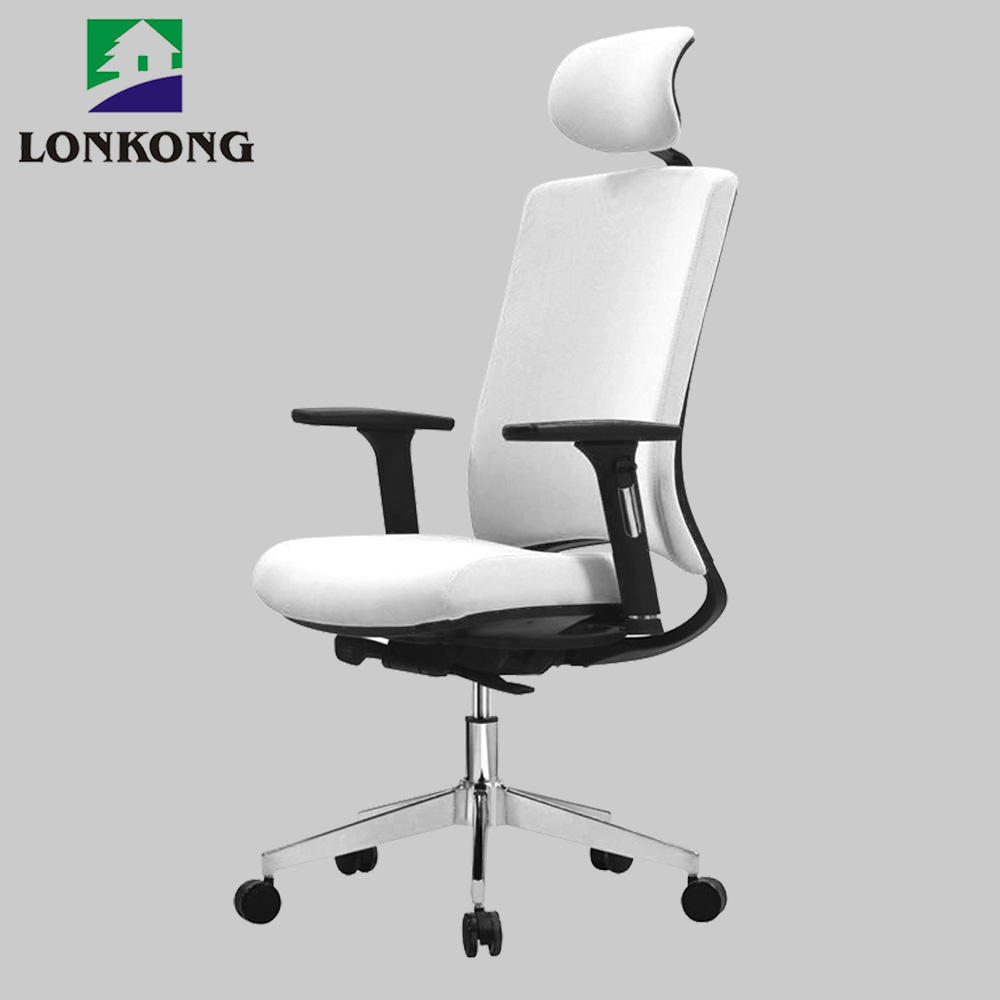 Chesterfield presidents leather office chair adjustable white leather office chair