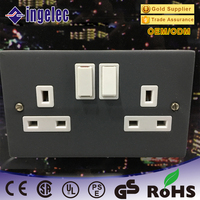 yiwu jinmin China Manufacturer Hot sales Spray paint panels UK type double 6 pin wall sockets electrical outlets