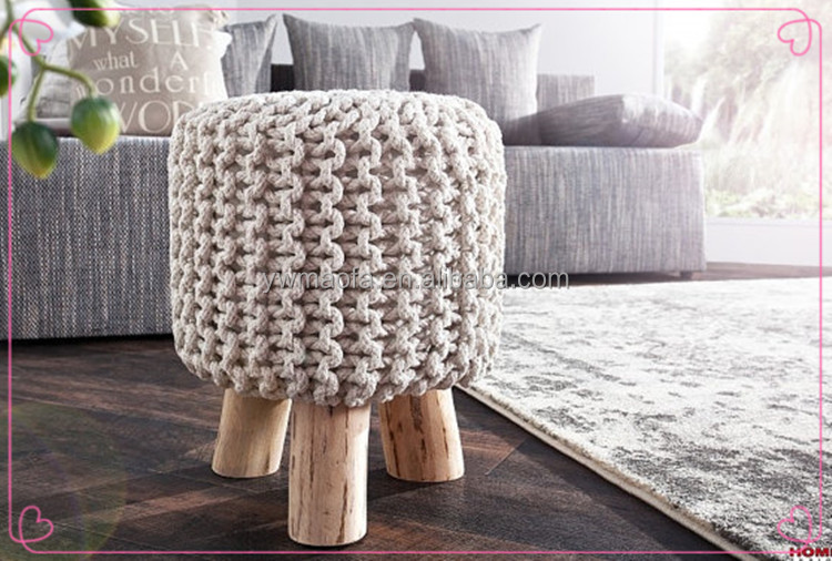 Hight Quality 100% Cotton Crochet Round Wood pouf Ottoman Knit Wooden Foot Stool In Home Decoration