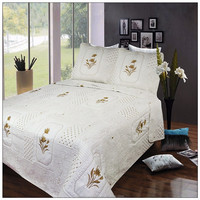 shanghai embroidery bedding set/king size flat bed sheet
