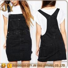 China Manufacturer Washed Black Twin Slot Dress Classic Pinafore Denim Dress Front Twin Pocket Dress Clothing for Young Girl