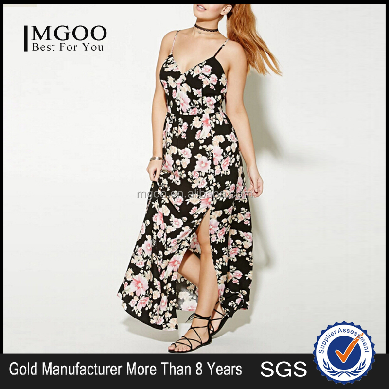 MGOO Plus Size Floral Maxi Dress Wholesale Allover Floral Print Long Dress For Women With High Slit 2016