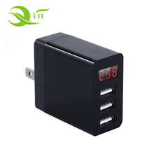 2018 New model 5V 2.4A 3 Port USB Travel Wall Charger USB Power Adapter with LCD Display for Smart Phone and Tablet
