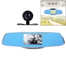 G835 HD 1080P 4.3 inch Screen Display Rearview Mirror Vehicle DVR, Generalplus 2248, 2 Cameras 170 Degree Wide Angle Viewing