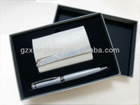 GFT002 Promotional gift metal ball pen and business name card holder gift set hot selling classical promotional gift set