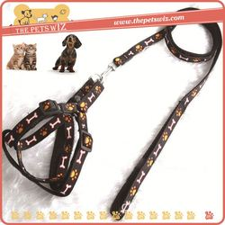 Custom-made nylon dog harness and leash ,CC260 fashion leopard grain series-harness for sale