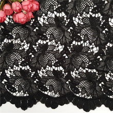 Dress lace Heavy Black Cord Lace Eyelash Guipure Lace Fabric