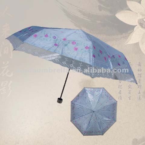 Whole Beautiful Custom Market Lady Lace 3 Fold Glow Blue Satin Parasol Sun Umbrella