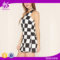 2016 Guangzhou Shandao OEM/ODM Custom Women Summer Style Sleeveless Short Plaid Printed Slim Fashion New Dress