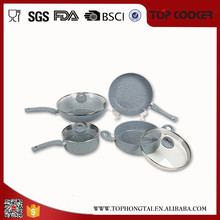 Hot sale high quality marble coating stone anodized aluminum cookware sets