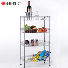 Multi-Functional 4 Tier Fruit Vegetable Food Chrome Storage Wire Basket Rack