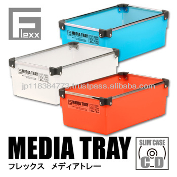 Storage box plastic case tray wt stainless frame Japan design book comics game soft stationery FLEXX MEDIA TRAY IC