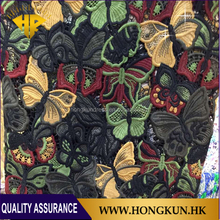 Grosir 100% polyester multicolor bordir kain renda