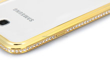 Hot fashion luxury Bling shining single row crystal aluminum diamond metal hard bumper frame case for samsung galaxy note2 n7100
